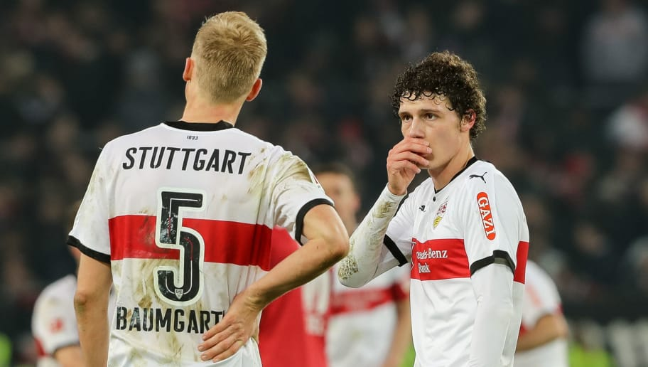 STUTTGART, GERMANY - JANUARY 27: Timo Baumgartl of Stuttgart speaks with Benjamin Pavard of Stuttgart during the Bundesliga match between VfB Stuttgart and FC Schalke 04 at Mercedes-Benz Arena on January 27, 2018 in Stuttgart, Germany. (Photo by TF-Images/TF-Images via Getty Images)