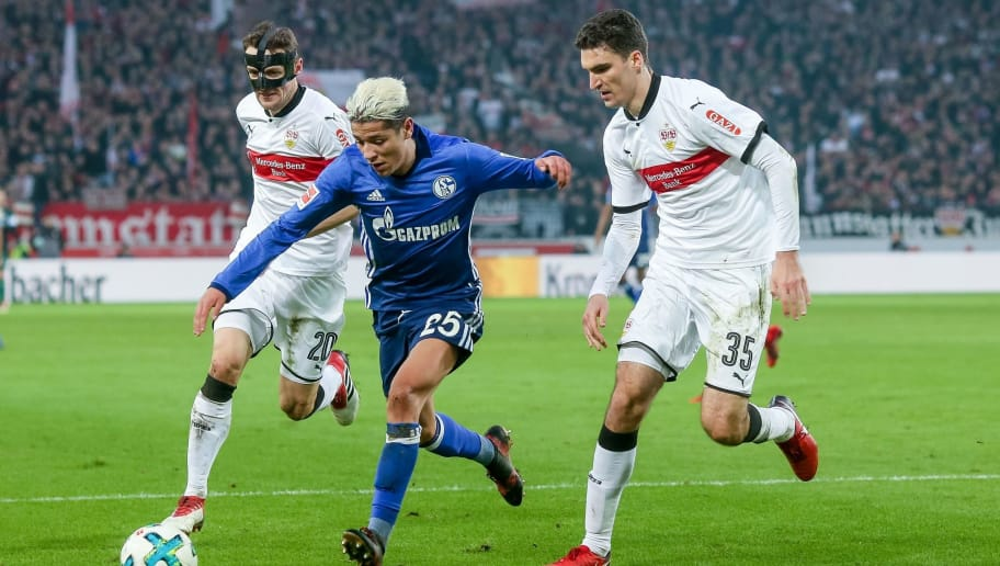 STUTTGART, GERMANY - JANUARY 27: Christian Gentner of Stuttgart, Marcin Kaminski of Stuttgart and Amine Harit of Schalke battle for the ball during the Bundesliga match between VfB Stuttgart and FC Schalke 04 at Mercedes-Benz Arena on January 27, 2018 in Stuttgart, Germany. (Photo by TF-Images/TF-Images via Getty Images)