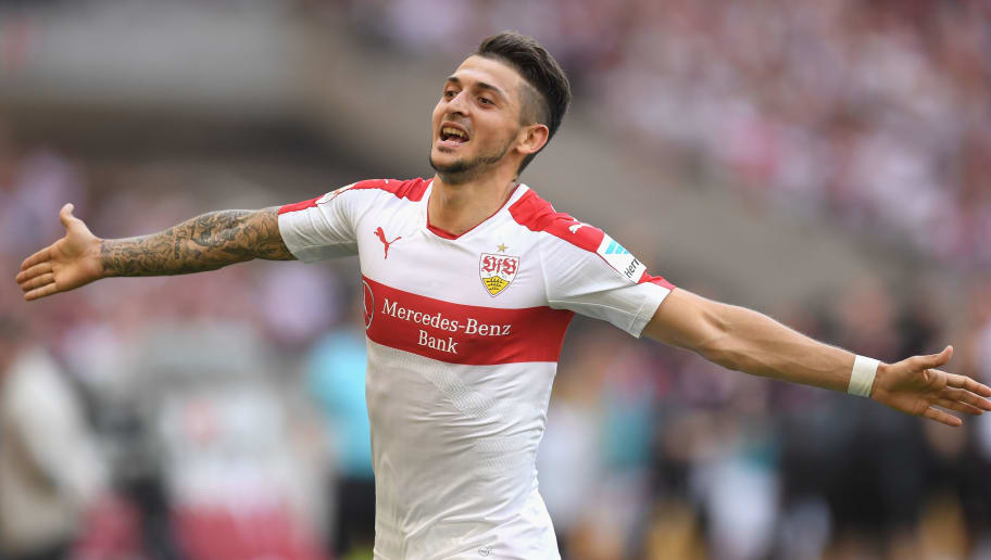 STUTTGART, GERMANY - MAY 21:  Matthias Zimmermann of Stuttgart celebrates scoring the opening goal during the Second Bundesliga match between VfB Stuttgart and FC Wuerzburger Kickers at Mercedes-Benz Arena on May 21, 2017 in Stuttgart, Germany.  (Photo by Matthias Hangst/Bongarts/Getty Images)