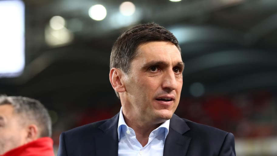 STUTTGART, GERMANY - SEPTEMBER 21: Tayfun Korkut, Manager of VfB Stuttgart looks on prior to the Bundesliga match between VfB Stuttgart and Fortuna Duesseldorf at Mercedes-Benz Arena on September 21, 2018 in Stuttgart, Germany.  (Photo by Alex Grimm/Bongarts/Getty Images)