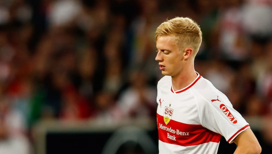 STUTTGART, GERMANY - SEPTEMBER 21: Timo Baumgartl of VfB Stuttgart looks on during the Bundesliga match between VfB Stuttgart and Fortuna Duesseldorf at Mercedes-Benz Arena on September 21, 2018 in Stuttgart, Germany. (Photo by TF-Images/Getty Images)