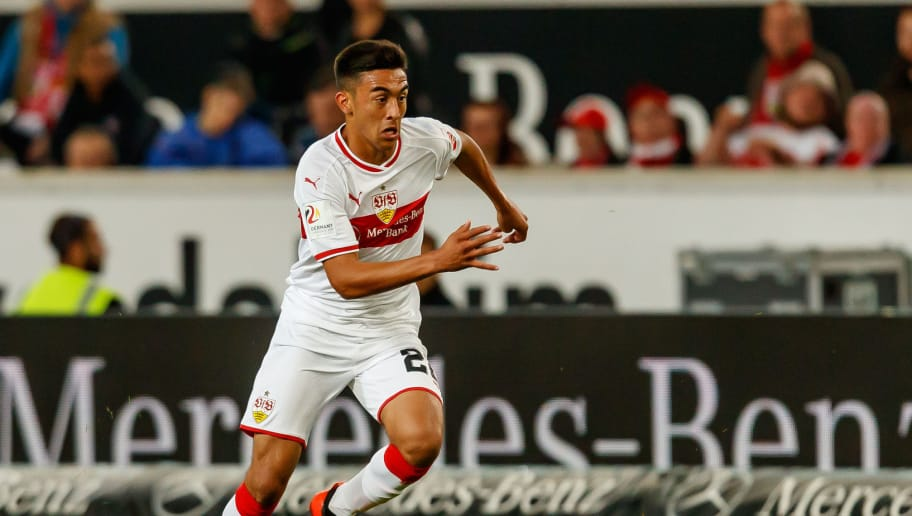 STUTTGART, GERMANY - SEPTEMBER 21: Nicolas Gonzalez of VfB Stuttgart controls the ball during the Bundesliga match between VfB Stuttgart and Fortuna Duesseldorf at Mercedes-Benz Arena on September 21, 2018 in Stuttgart, Germany. (Photo by TF-Images/Getty Images)