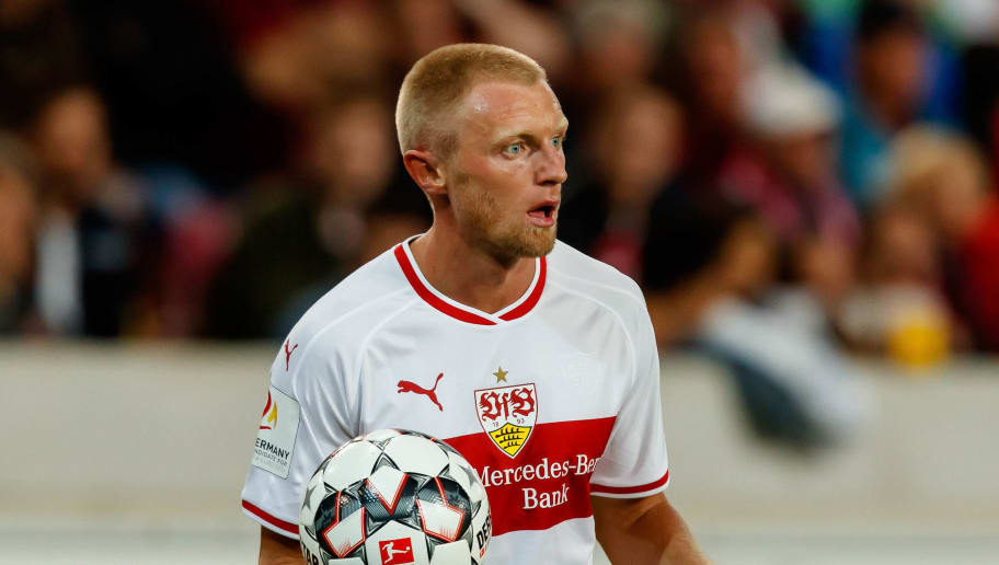 STUTTGART, GERMANY - SEPTEMBER 21: Andreas Beck of VfB Stuttgart controls the ball during the Bundesliga match between VfB Stuttgart and Fortuna Duesseldorf at Mercedes-Benz Arena on September 21, 2018 in Stuttgart, Germany. (Photo by TF-Images/Getty Images)