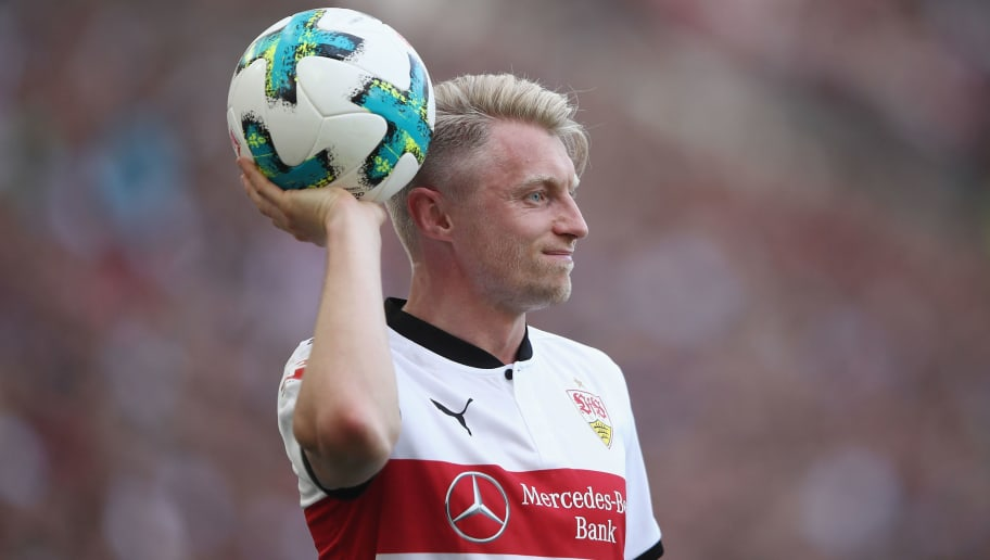 STUTTGART, GERMANY - APRIL 14:  Andreas Beck of Stuttgart reacts during the Bundesliga match between VfB Stuttgart and Hannover 96 at Mercedes-Benz Arena on April 14, 2018 in Stuttgart, Germany.  (Photo by Alex Grimm/Bongarts/Getty Images)