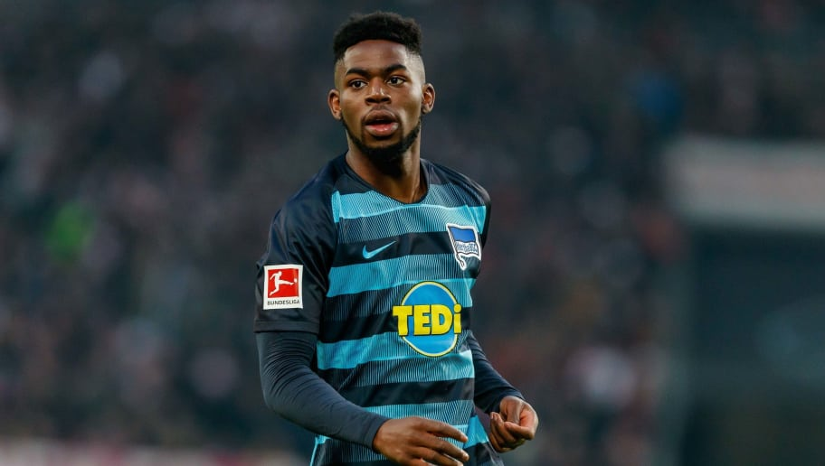 STUTTGART, GERMANY - DECEMBER 15: Jordan Torunarigha of Hertha BSC looks on during the Bundesliga match between VfB Stuttgart and Hertha BSC at Mercedes-Benz Arena on December 15, 2018 in Stuttgart, Germany. (Photo by TF-Images/TF-Images via Getty Images)