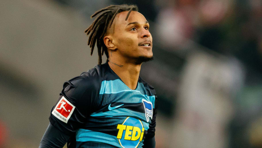 STUTTGART, GERMANY - DECEMBER 15: Valentino Lazaro of Hertha BSC looks on during the Bundesliga match between VfB Stuttgart and Hertha BSC at Mercedes-Benz Arena on December 15, 2018 in Stuttgart, Germany. (Photo by TF-Images/TF-Images via Getty Images)