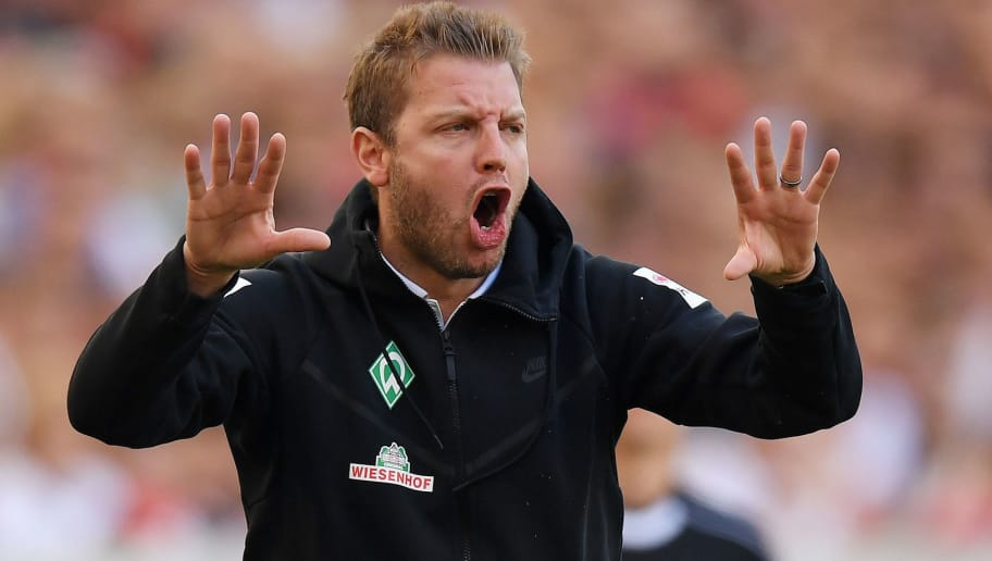 STUTTGART, GERMANY - APRIL 21: Head coach Florian Kohfeldt of Bremen gestures during the Bundesliga match between VfB Stuttgart and SV Werder Bremen at Mercedes-Benz Arena on April 21, 2018 in Stuttgart, Germany. (Photo by Matthias Hangst/Bongarts/Getty Images)