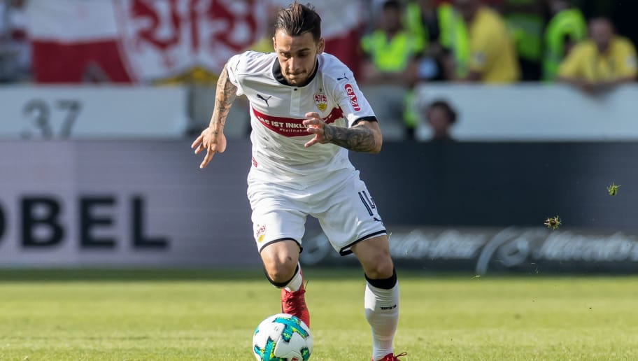 STUTTGART, GERMANY - APRIL 21: Anastasios Donis of Stuttgart controls the ball during the Bundesliga match between VfB Stuttgart and SV Werder Bremen at Mercedes-Benz Arena on April 21, 2018 in Stuttgart, Germany. (Photo by TF-Images/TF-Images via Getty Images)