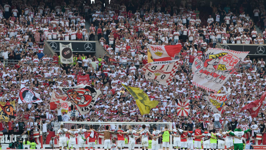 STUTTGART, GERMANY - APRIL 21: The players of VfB Stuttgart celebrate with the fans after the Bundesliga match between VfB Stuttgart and SV Werder Bremen at Mercedes-Benz Arena on April 21, 2018 in Stuttgart, Germany. (Photo by Matthias Hangst/Bongarts/Getty Images)