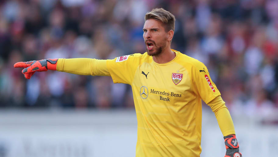 STUTTGART, GERMANY - SEPTEMBER 29: Ron-Robert Zieler of Stuttgart reacts during the Bundesliga match between VfB Stuttgart and SV Werder Bremen at Mercedes-Benz Arena on September 29, 2018 in Stuttgart, Germany. (Photo by Christian Kaspar-Bartke/Bongarts/Getty Images)