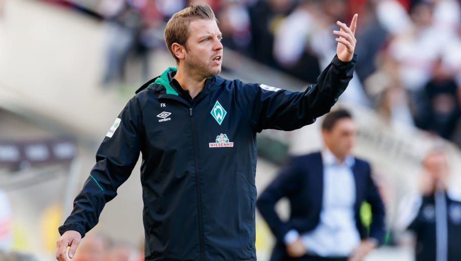 STUTTGART, GERMANY - SEPTEMBER 29: Head coach Florian Kohfeldt of Werder Bremen gestures during the Bundesliga match between VfB Stuttgart and SV Werder Bremen at Mercedes-Benz Arena on September 29, 2018 in Stuttgart, Germany. (Photo by TF-Images/Getty Images)