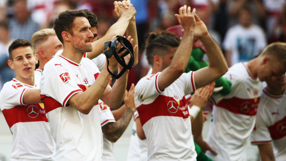 STUTTGART, GERMANY - MAY 05:  Christian Gentner of VfB Stuttgart celebrates victory after the Bundesliga match between VfB Stuttgart and TSG 1899 Hoffenheim at Mercedes-Benz Arena on May 5, 2018 in Stuttgart, Germany.  (Photo by Adam Pretty/Bongarts/Getty Images)