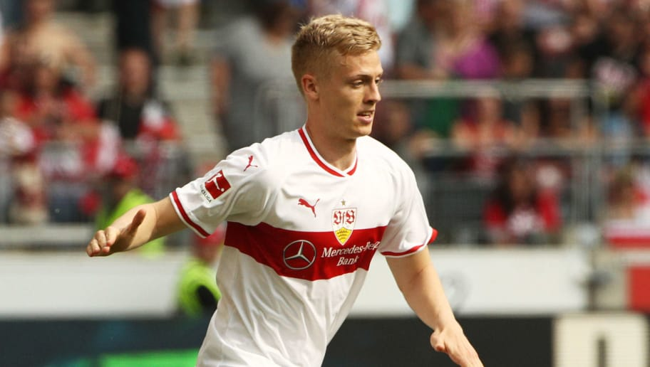 STUTTGART, GERMANY - MAY 05:  Timo Baumgartl of VfB Stuttgart in action during the Bundesliga match between VfB Stuttgart and TSG 1899 Hoffenheim at Mercedes-Benz Arena on May 5, 2018 in Stuttgart, Germany.  (Photo by Adam Pretty/Bongarts/Getty Images)