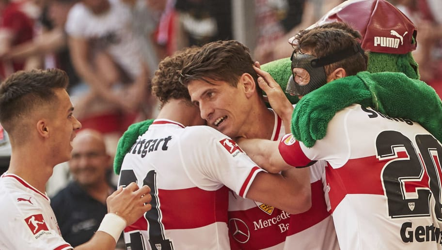 STUTTGART, GERMANY - MAY 05:  Mario Gomez of VfB Stuttgart celebrates after scoring the second goal during the Bundesliga match between VfB Stuttgart and TSG 1899 Hoffenheim at Mercedes-Benz Arena on May 5, 2018 in Stuttgart, Germany.  (Photo by Adam Pretty/Bongarts/Getty Images)