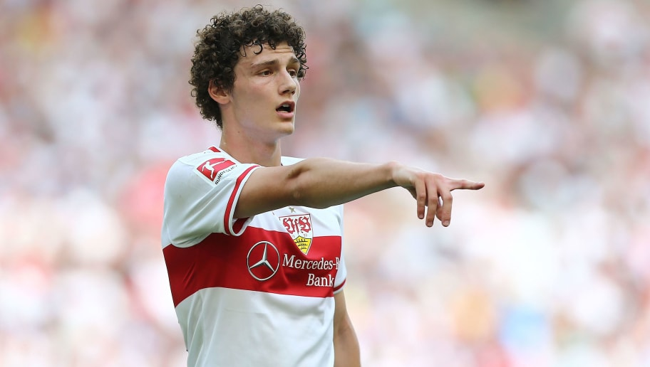 STUTTGART, GERMANY - MAY 05:  Benjamin Pavard of Stuttgart gestures during the Bundesliga match between VfB Stuttgart and TSG 1899 Hoffenheim at Mercedes-Benz Arena on May 5, 2018 in Stuttgart, Germany.  (Photo by Thomas Niedermueller/Getty Images)