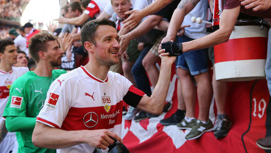 STUTTGART, GERMANY - MAY 05:  Christian Gentner of Stuttgart is seen with fans after the Bundesliga match between VfB Stuttgart and TSG 1899 Hoffenheim at Mercedes-Benz Arena on May 5, 2018 in Stuttgart, Germany.  (Photo by Thomas Niedermueller/Getty Images)