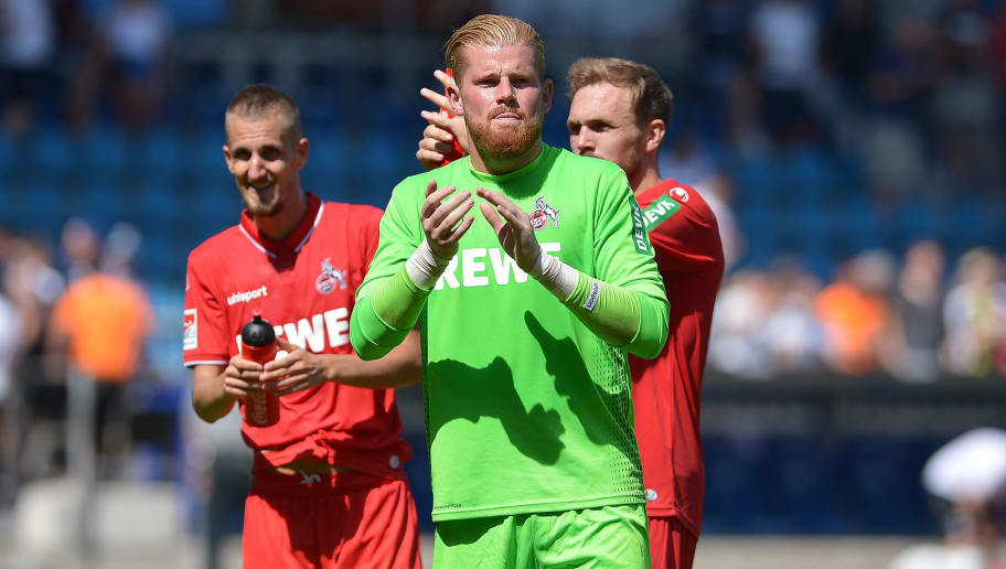BOCHUM, GERMANY - AUGUST 04: Dominick Drexler of Colonge , Goalkeeper Timo Horn of Colonge and Rafael Czichos of Colonge celebrates after winning the second Bundesliga match between VfL Bochum 1848 and 1. FC Koeln at Vonovia Ruhrstadion on August 4, 2018 in Bochum, Germany. (Photo by TF-Images/Getty Images)
