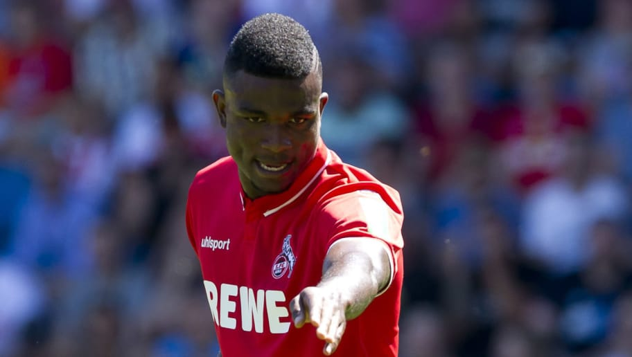 BOCHUM, GERMANY - AUGUST 04: Jhon Cordoba of Colonge gestures during the second Bundesliga match between VfL Bochum 1848 and 1. FC Koeln at Vonovia Ruhrstadion on August 4, 2018 in Bochum, Germany. (Photo by TF-Images/Getty Images)