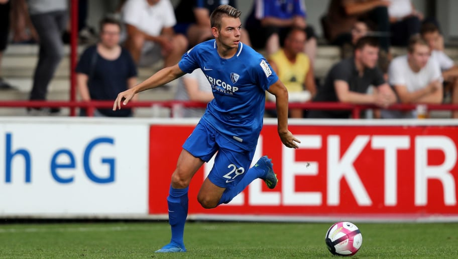VERL, GERMANY - JULY 25: Maxim Leitsch of Bochum runs with the ball during the Pre-Season Friendly match between VfL Bochum and AS Monaco at Sportclub Arena on July 25, 2018 in Verl, Germany. The match between Bochum and Monaco ended 2-2. (Photo by Christof Koepsel/Getty Images)