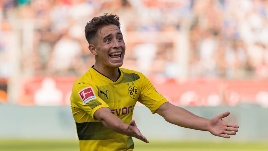 BOCHUM, GERMANY - JULY 22: Emre Mor of Dortmund gestures during the preseason friendly match between VfL Bochum and Borussia Dortmund at Vonovia Ruhrstadion on July 22, 2017 in Bochum, Germany. (Photo by TF-Images/TF-Images via Getty Images)