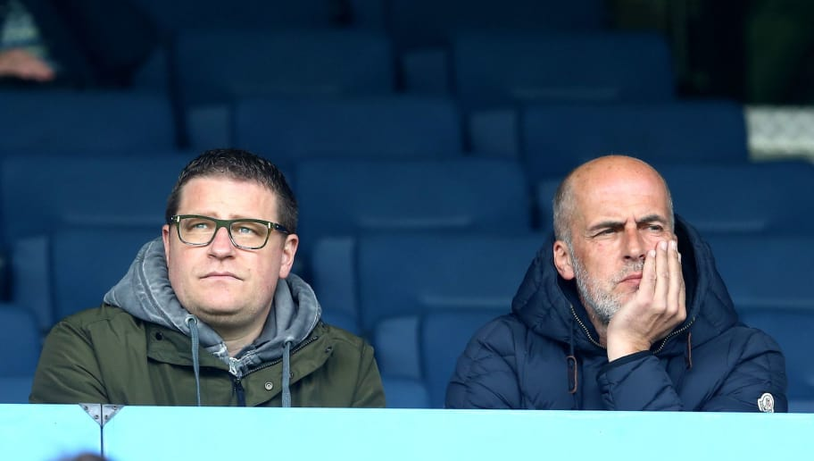 BOCHUM, GERMANY - APRIL 12: (L-R) Manager Max Eberl of Moenchengladbach and Michael Frontzeck sit on the tribune prior to the Second Bundesliga match between VfL Bochum and RB Leipzig at Rewirpower Stadium on April 12, 2015 in Bochum, Germany.  (Photo by Christof Koepsel/Bongarts/Getty Images)