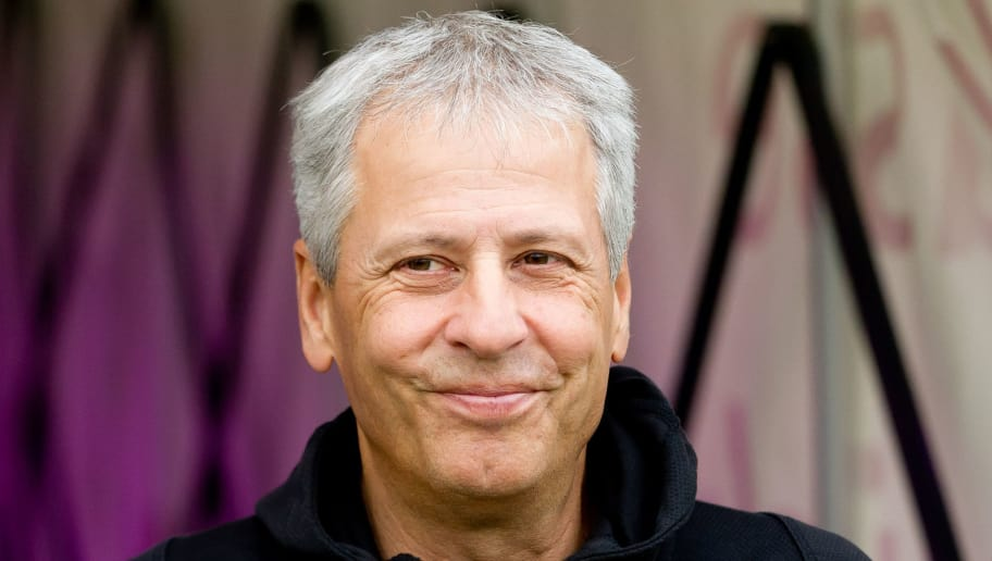 OSNABRÜCK, GERMANY - SEPTEMBER 06: Head coach Lucien Favre of Borussia Dortmund laughs prior to the Frendly Match between VfL Osnabrück and Borussia Dortmund at Stadion an der Bremer Brücke on September 6, 2018 in Osnabrück, Germany. (Photo by TF-Images/Getty Images)