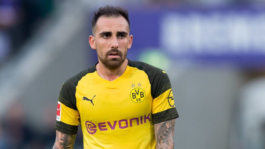 OSNABRÜCK, GERMANY - SEPTEMBER 06: Paco Alcacer of Borussia Dortmund looks on during the Frendly Match between VfL Osnabrück and Borussia Dortmund at Stadion an der Bremer Brücke on September 6, 2018 in Osnabrück, Germany. (Photo by TF-Images/Getty Images)