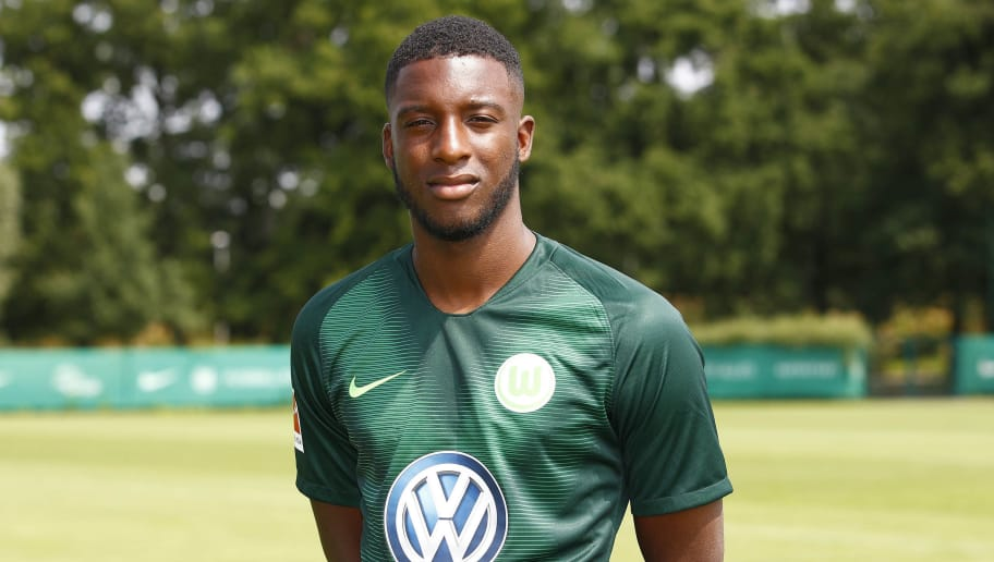WOLFSBURG, GERMANY - JULY 20: Riechedly Bazoer of VfL Wolfsburg poses during the team presentation at VfL Center on July 20, 2018 in Wolfsburg, Germany. (Photo by Joachim Sielski/Bongarts/Getty Images)