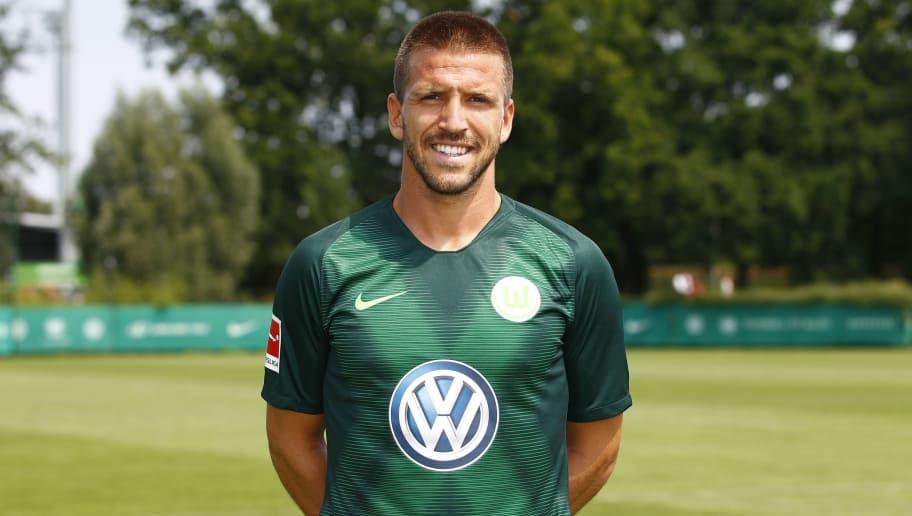 WOLFSBURG, GERMANY - JULY 20: Ignacio Camacho of VfL Wolfsburg poses during the team presentation at VfL Center on July 20, 2018 in Wolfsburg, Germany. (Photo by Joachim Sielski/Bongarts/Getty Images)