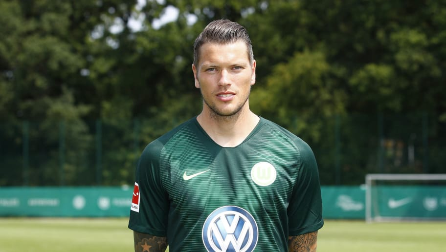 WOLFSBURG, GERMANY - JULY 20: Daniel Ginczek of VfL Wolfsburg poses during the team presentation at VfL Center on July 20, 2018 in Wolfsburg, Germany. (Photo by Joachim Sielski/Bongarts/Getty Images)