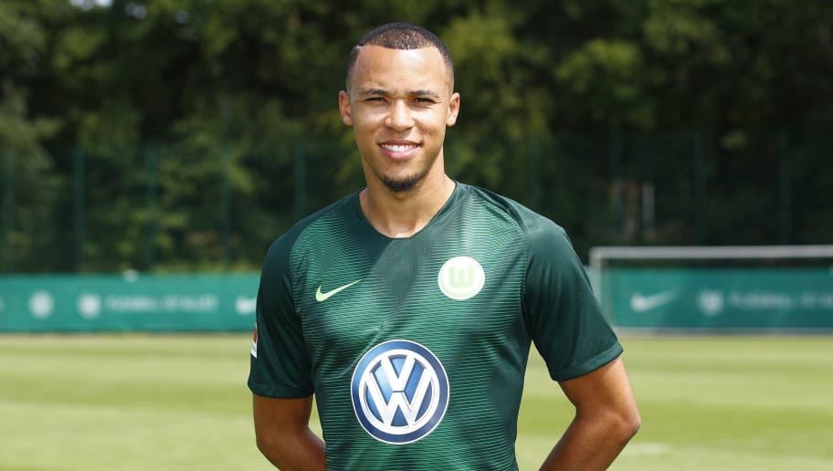 WOLFSBURG, GERMANY - JULY 20: Marcel Tisserand of VfL Wolfsburg poses during the team presentation at VfL Center on July 20, 2018 in Wolfsburg, Germany. (Photo by Joachim Sielski/Bongarts/Getty Images)