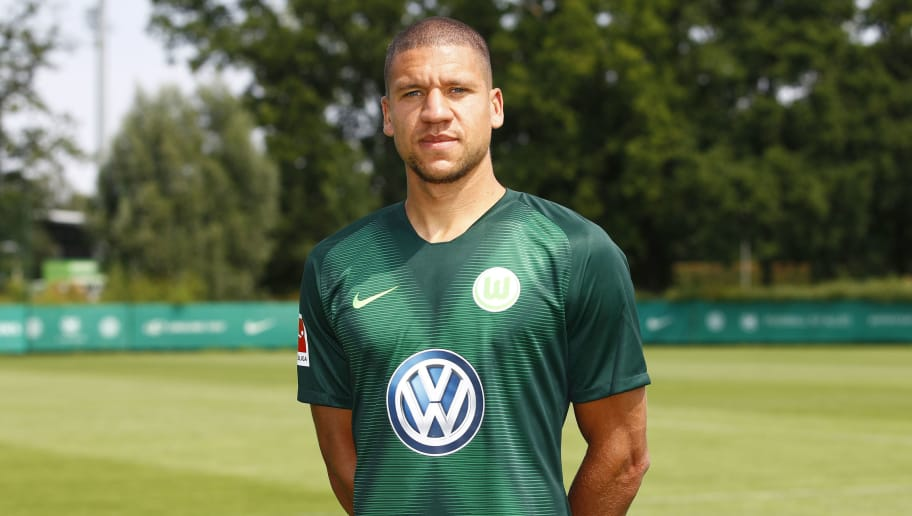 WOLFSBURG, GERMANY - JULY 20: Jeffrey Bruma of VfL Wolfsburg poses during the team presentation at VfL Center on July 20, 2018 in Wolfsburg, Germany. (Photo by Joachim Sielski/Bongarts/Getty Images)