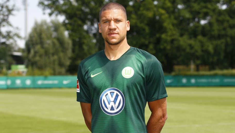 WOLFSBURG, GERMANY - JULY 20: Jeffrey Bruma of VfL Wolfsburg poses during the team presentation at VfL Center on July 20, 2018 in Wolfsburg, Germany. (Photo by Joachim Sielski/Bongarts/Getty Images)