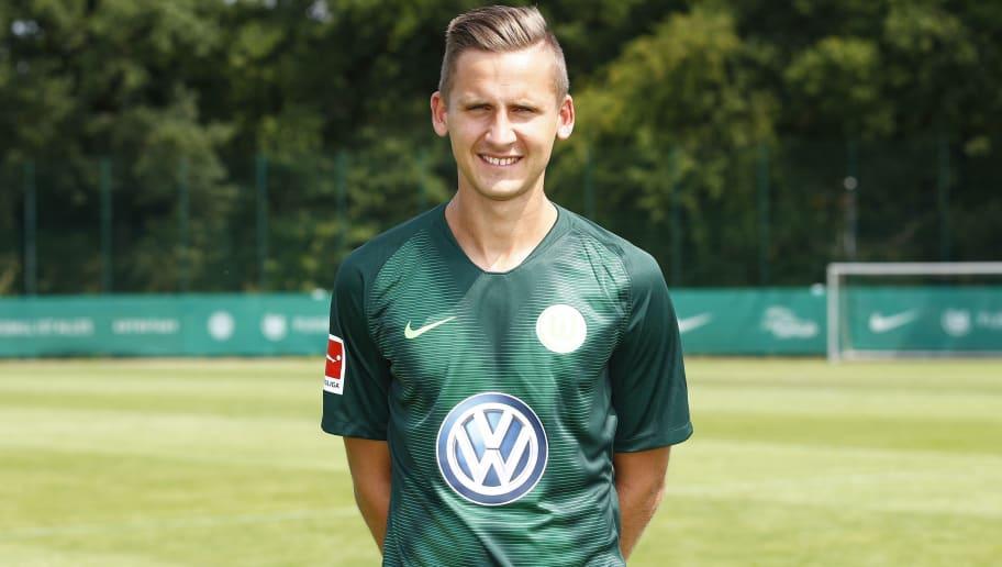 WOLFSBURG, GERMANY - JULY 20: Paul Seguin of VfL Wolfsburg poses during the team presentation at VfL Center on July 20, 2018 in Wolfsburg, Germany. (Photo by Joachim Sielski/Bongarts/Getty Images)