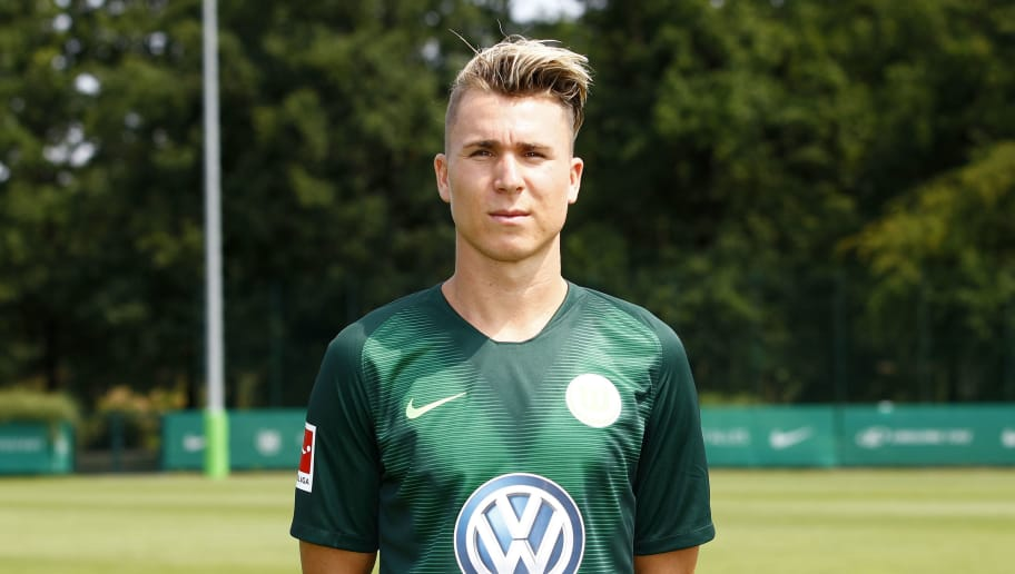 WOLFSBURG, GERMANY - JULY 20: Felix Klaus of VfL Wolfsburg poses during the team presentation at VfL Center on July 20, 2018 in Wolfsburg, Germany. (Photo by Joachim Sielski/Bongarts/Getty Images)