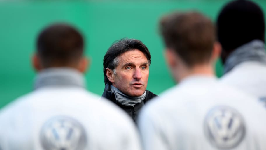 WOLFSBURG, GERMANY - FEBRUARY 20:  Bruno Labbadia, new head coach of Wolfsburg looks on during a training session of VfL Wolfsburg at Volkswagen Arena on February 20, 2018 in Wolfsburg, Germany. (Photo by Ronny Hartmann/Bongarts/Getty Images)