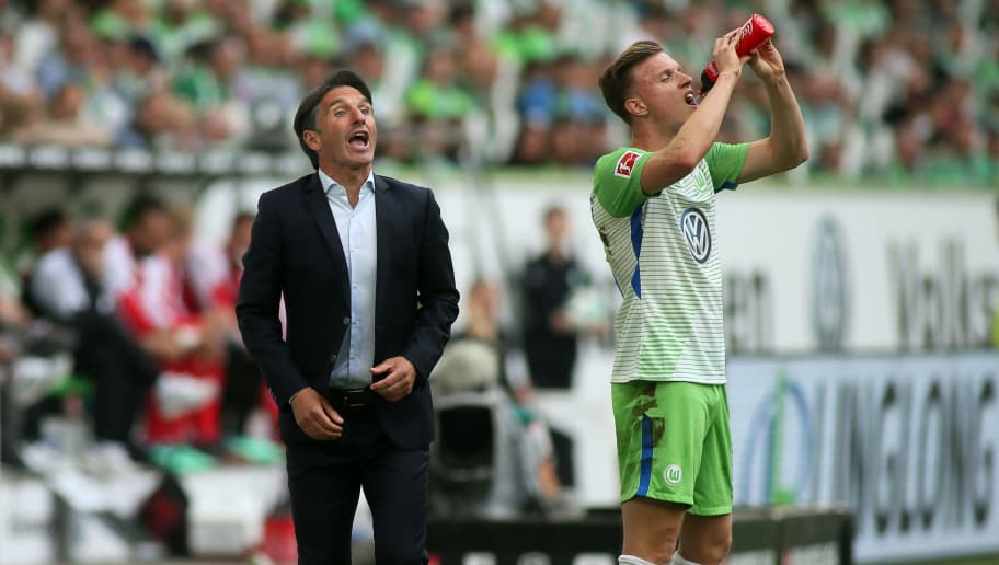 WOLFSBURG, GERMANY - MAY 12: Headcoach Bruno Labbadia of Wolfsburg reacts during the Bundesliga match between VfL Wolfsburg and 1. FC Koeln at Volkswagen Arena on May 12, 2018 in Wolfsburg, Germany. (Photo by Selim Sudheimer/Bongarts/Getty Images)