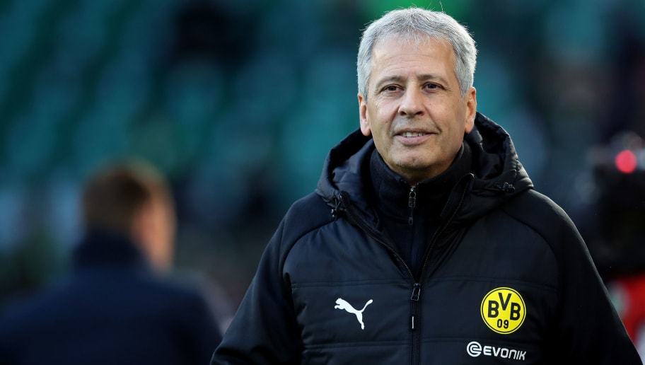 WOLFSBURG, GERMANY - NOVEMBER 03: Head coach Lucien Favre of Dortmund looks on prior to the Bundesliga match between VfL Wolfsburg and Borussia Dortmund at Volkswagen Arena on November 3, 2018 in Wolfsburg, Germany. (Photo by Ronny Hartmann/Bongarts/Getty Images)