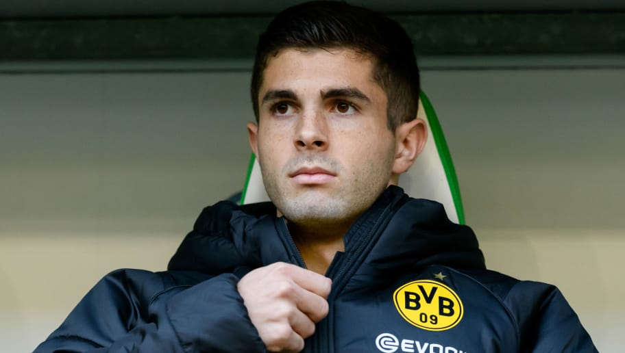 WOLFSBURG, GERMANY - NOVEMBER 03: Christian Pulisic of Borussia Dortmund looks on during the Bundesliga match between VfL Wolfsburg and Borussia Dortmund at Volkswagen Arena on November 3, 2018 in Wolfsburg, Germany. (Photo by TF-Images/Getty Images)