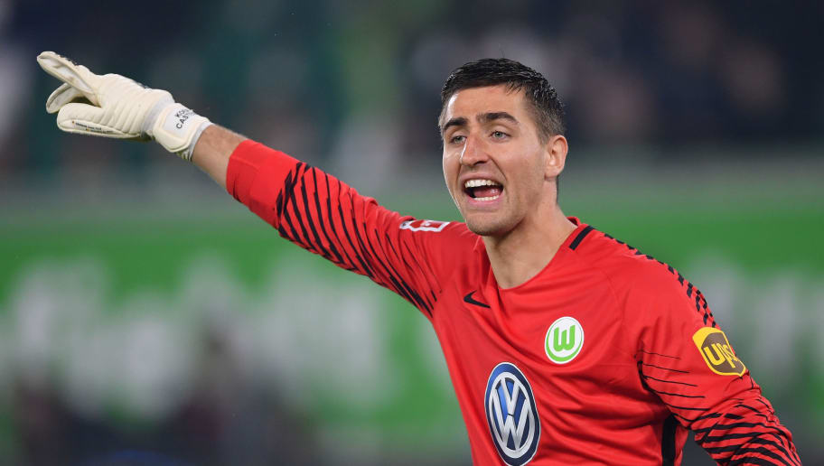 WOLFSBURG, GERMANY - APRIL 13:  Koen Casteels of Wolfsburg  shouts during the Bundesliga match between VfL Wolfsburg and FC Augsburg at Volkswagen Arena on April 13, 2018 in Wolfsburg, Germany.  (Photo by Stuart Franklin/Bongarts/Getty Images)