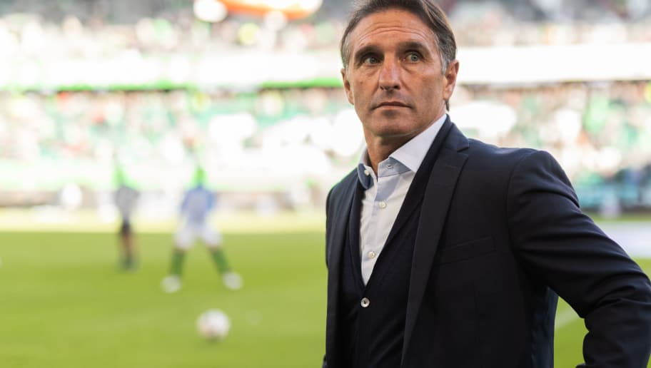 WOLFSBURG, GERMANY - OCTOBER 20: Head coach Bruno Labbadia of VfL Wolfsburg looks on prior to the Bundesliga match between VfL Wolfsburg and FC Bayern Muenchen at Volkswagen Arena on October 20, 2018 in Wolfsburg, Germany. (Photo by Boris Streubel/Getty Images)