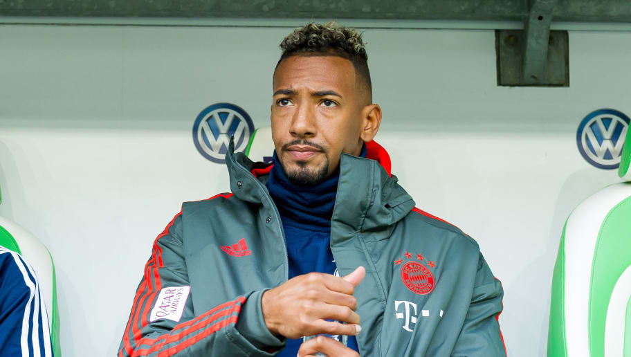 WOLFSBURG, GERMANY - OCTOBER 20: Jerome Boateng of Bayern Muenchen sits on the bench prior the Bundesliga match between VfL Wolfsburg and FC Bayern Muenchen at Volkswagen Arena on October 20, 2018 in Wolfsburg, Germany. (Photo by TF-Images/Getty Images)