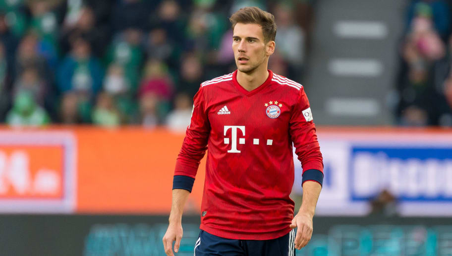 WOLFSBURG, GERMANY - OCTOBER 20: Leon Goretzka of Bayern Muenchen looks on during the Bundesliga match between VfL Wolfsburg and FC Bayern Muenchen at Volkswagen Arena on October 20, 2018 in Wolfsburg, Germany. (Photo by TF-Images/Getty Images)