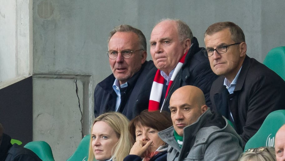 WOLFSBURG, GERMANY - OCTOBER 20: CEO Karl-Heinz Rummenigge of Bayern Muenchen and President Uli Hoeness of Bayern Muenchen look on during the Bundesliga match between VfL Wolfsburg and FC Bayern Muenchen at Volkswagen Arena on October 20, 2018 in Wolfsburg, Germany. (Photo by TF-Images/Getty Images)