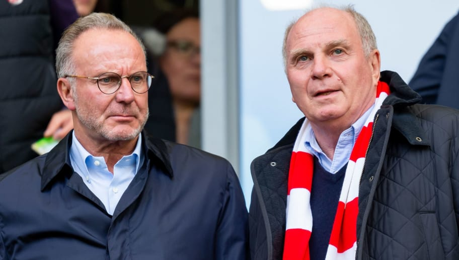 WOLFSBURG, GERMANY - OCTOBER 20: Karl-Heinz Rummenigge and Uli Hoeness of Bayern Muenchen look on prior the Bundesliga match between VfL Wolfsburg and FC Bayern Muenchen at Volkswagen Arena on October 20, 2018 in Wolfsburg, Germany. (Photo by TF-Images/Getty Images)