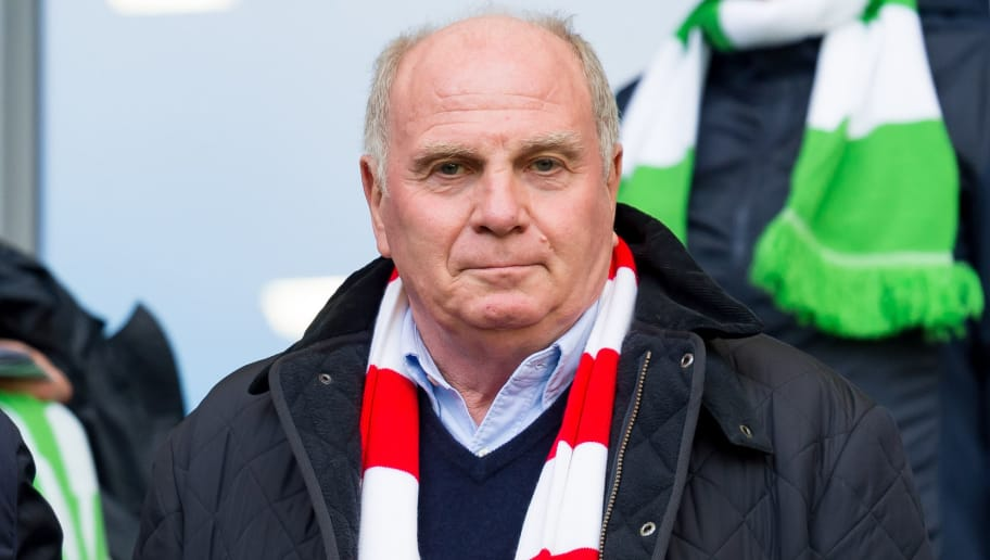 WOLFSBURG, GERMANY - OCTOBER 20: President Uli Hoeness of Bayern Muenchen looks on prior the Bundesliga match between VfL Wolfsburg and FC Bayern Muenchen at Volkswagen Arena on October 20, 2018 in Wolfsburg, Germany. (Photo by TF-Images/Getty Images)