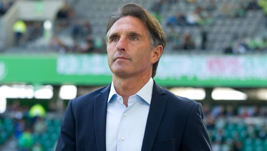 WOLFSBURG, GERMANY - AUGUST 25: Head coach Bruno Labbadia of Wolfsburg looks on during the Bundesliga match between VfL Wolfsburg and FC Schalke 04 at Volkswagen Arena on August 25, 2018 in Wolfsburg, Germany. (Photo by TF-Images/Getty Images)