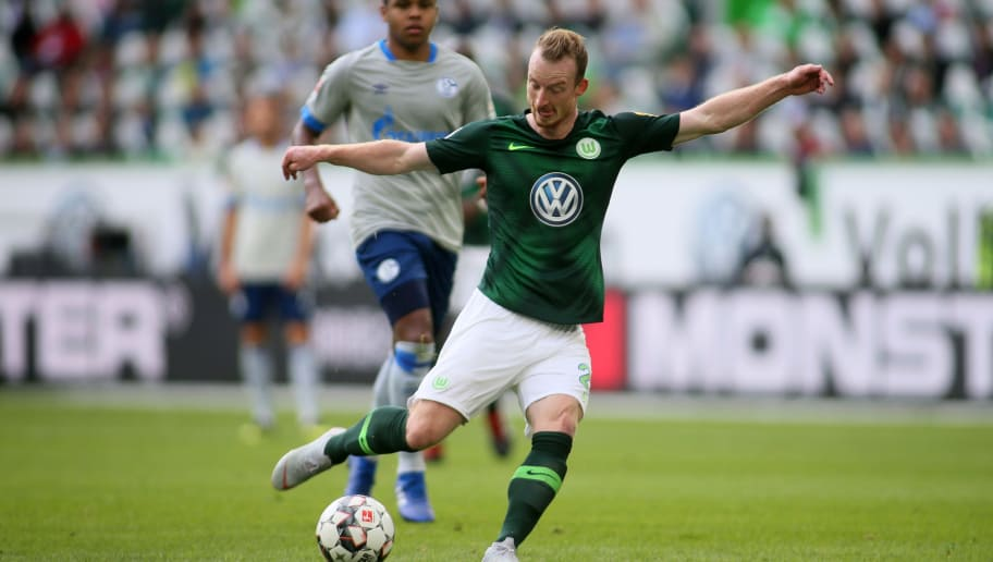 WOLFSBURG, GERMANY - AUGUST 25: Maximilian Arnold of Wolfsburg is seen during the Bundesliga match between VfL Wolfsburg and FC Schalke 04 at Volkswagen Arena on August 25, 2018 in Wolfsburg, Germany. (Photo by Selim Sudheimer/Bongarts/Getty Images)