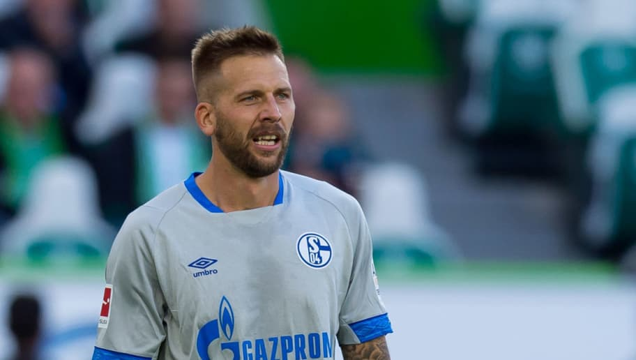 WOLFSBURG, GERMANY - AUGUST 25: Guido Burgstaller of Schalke controls the ball during the Bundesliga match between VfL Wolfsburg and FC Schalke 04 at Volkswagen Arena on August 25, 2018 in Wolfsburg, Germany. (Photo by TF-Images/Getty Images)