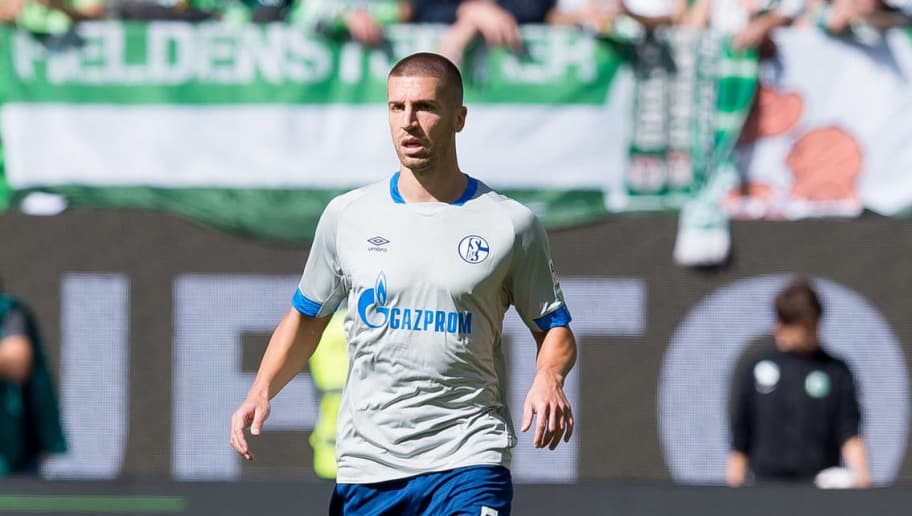 WOLFSBURG, GERMANY - AUGUST 25: Matija Nastasic of Schalke controls the ball during the Bundesliga match between VfL Wolfsburg and FC Schalke 04 at Volkswagen Arena on August 25, 2018 in Wolfsburg, Germany. (Photo by TF-Images/Getty Images)